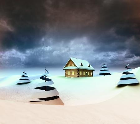Mountain landscape with hut dark sky evening illustration Stock Illustration - 17351520