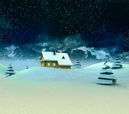 Lonely mountain hut with trees at winter snowfall illustration Stock Illustration - 17351549