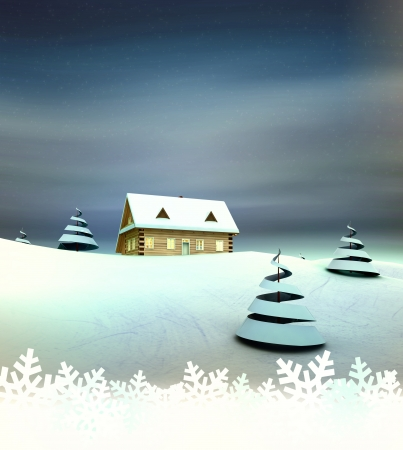 Mountain hut card with white space illustration Stock Illustration - 17351529