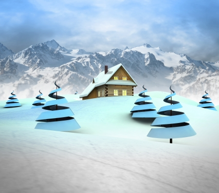 Mountain cottage in winter landscape with high mountain landscape illustration illustration