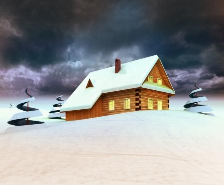 Mountain cottage with trees dark sky evening illustration Stock Illustration - 17351523
