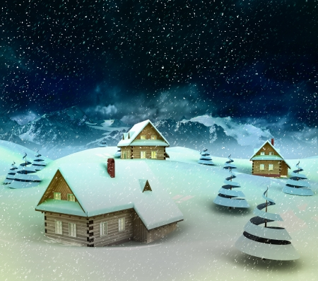 enviroment: Mountain village enviroment at winter snowfall illustration Stock Photo