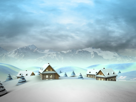 village in the mountains with high mountain landscape illustration Stock Illustration - 17351540