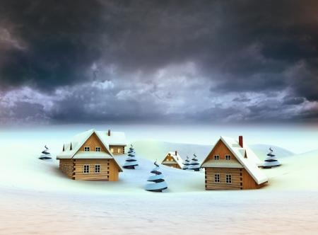Winter village dark sky evening illustration Stock Illustration - 17351541