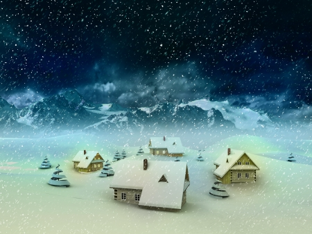 Magic winter resort scene with mountains and snowfall illustration Stock Illustration - 17351551