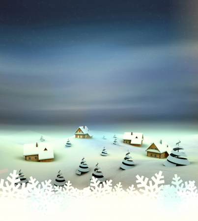 Winter village perspective card with white space illustration Stock Illustration - 17351530