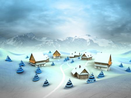 Winter village environment with high mountain landscape illustration Stock Illustration - 17351548