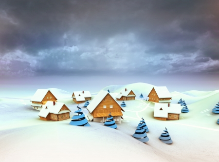 Winter village general view dark sky evening illustration illustration