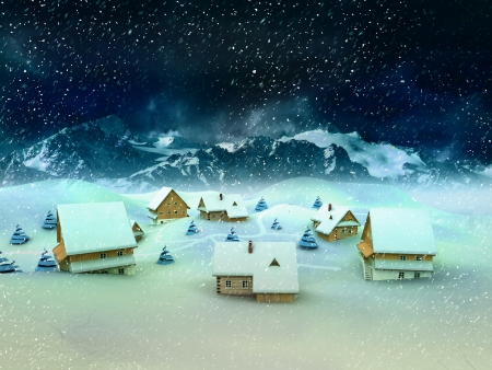winter village landscape with mountains and snowfall illustration Stock Illustration - 17351552