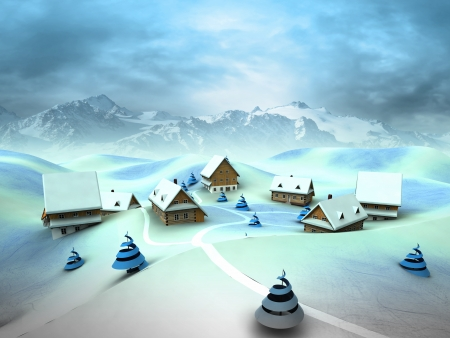 Winter village scene with high mountain landscape illustration illustration