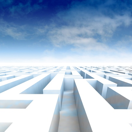 amazing maze walls with blue cloudy sky illustration Stock Illustration - 17369854