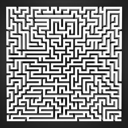 labyrinth black and white perspective upper view illustration Stock Illustration - 17369872