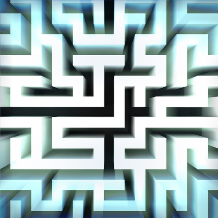light blue labyrinth wall structure in top blured view illustration Stock Illustration - 17369859