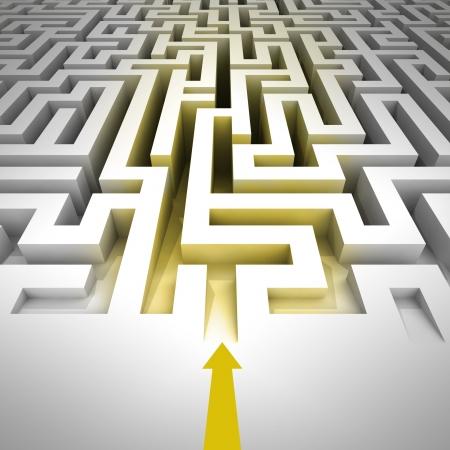 golden entrance inside to maze with arrow illustration Stock Illustration - 17369850
