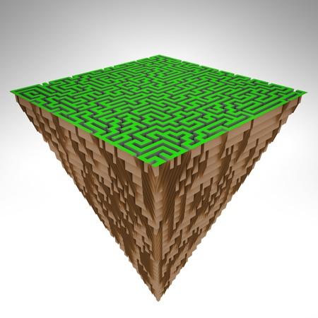 pyramidal piece of land as maze structure illustration Stock Illustration - 17369903