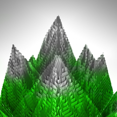 abstract green mountains structure covered ice illustration illustration