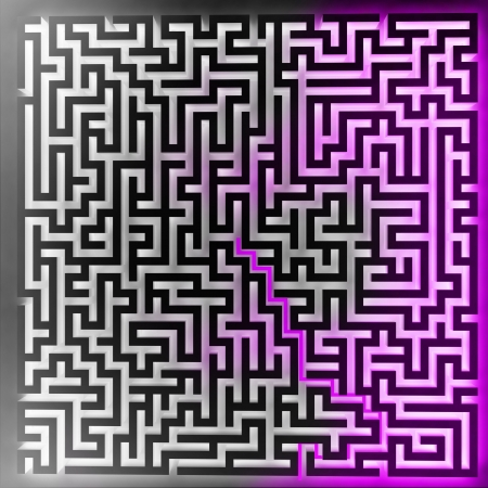 violet player solution at three dimensional maze top view illustration Stock Illustration - 17369914