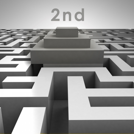 3D maze structure and second place podium illustration Stock Illustration - 17369837