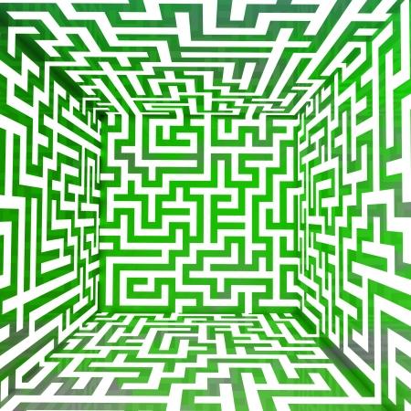 cool green three dimensional maze box illustration Stock Illustration - 17369917