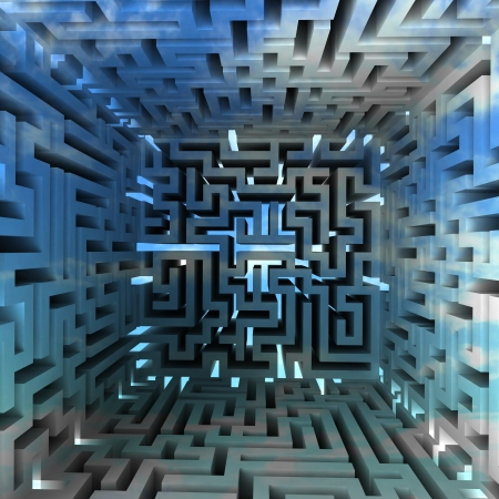 three dimensional maze block inside look illustration