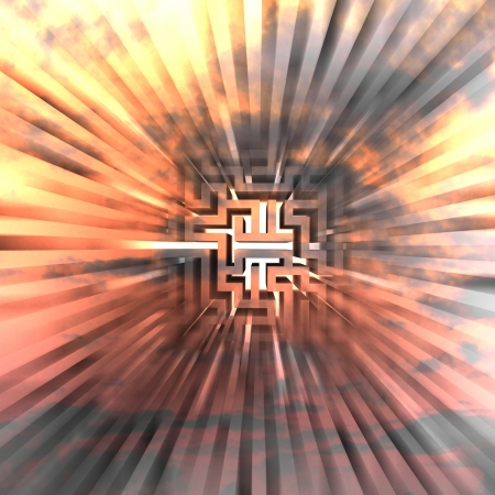 three dimensional maze explosion with central blur illustration Stock Illustration - 17369909