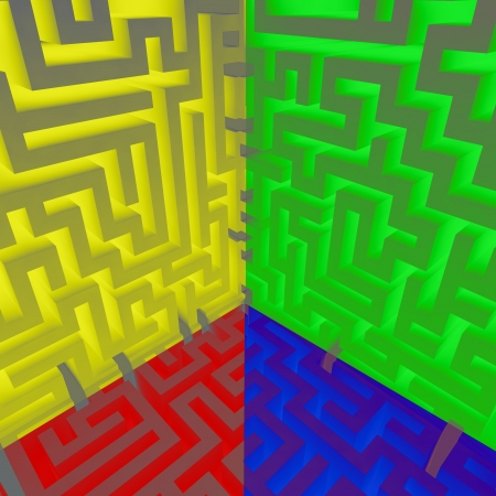 four edge color maze edge composition illustration Stock Illustration - 17369865