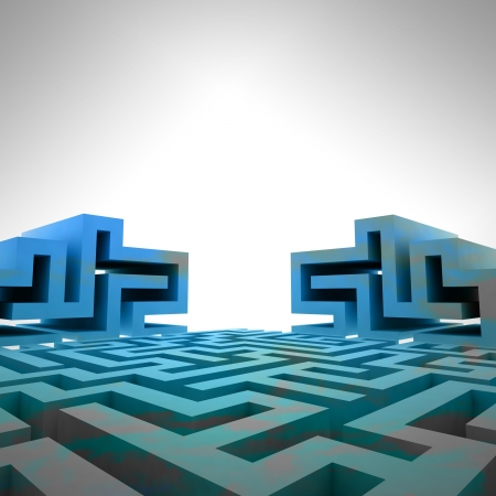 blue three dimensional maze structure template illustration Stock Illustration - 17369838