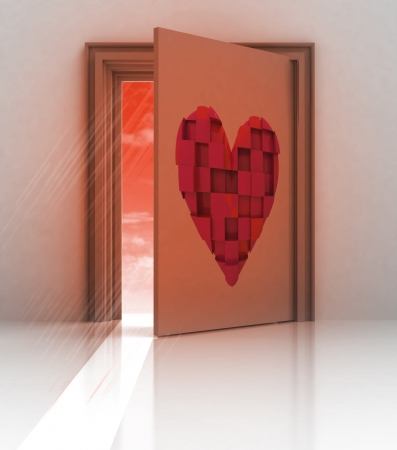 heart painted on back of closed door illustration illustration