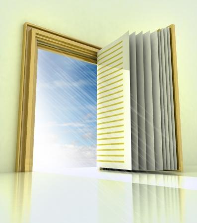 golden doorway with book door with blue sky illustration