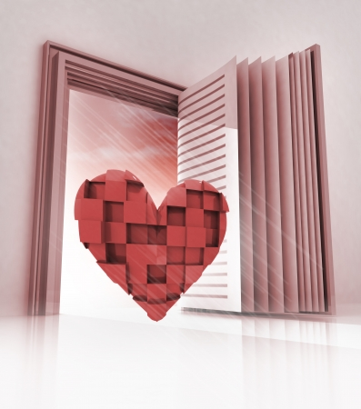 cubic heart in doorway as open book illustration illustration
