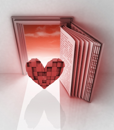 cubic heart in front of door as open book illustration illustration