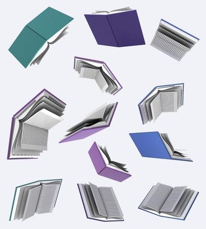 isolated flying books white background illustration Stock Illustration - 17587326