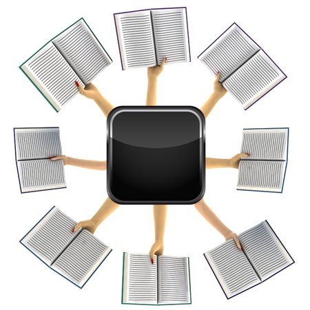isolated arms holding books around black web icon illustration Stock Illustration - 17587323