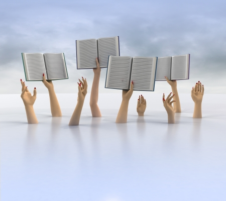 knowlage: arms holding books above floor, cloudy background illustration
