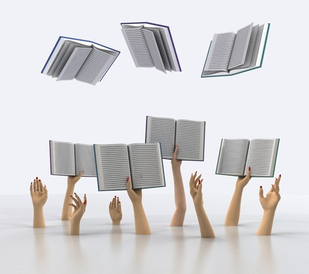 arms catching flying books on white background illustration