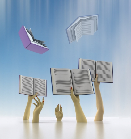arms catching flying books with blur sky illustration Stock Illustration - 17587300