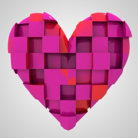 pink romantic heart cubic composition illustration illustration