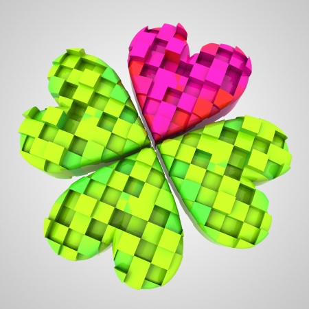 red heart in dimensional cloverleaf composition illustration Stock Illustration - 17587302