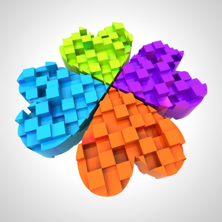 colored cloverleaf in three dimensional composition illustration Stock Photo