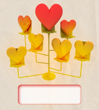 easel with golden and red hearts card template illustration stock