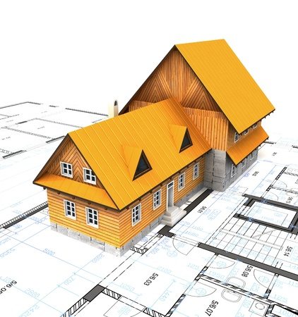 homestead: Bird view homestead building with layout plan illustration Stock Photo