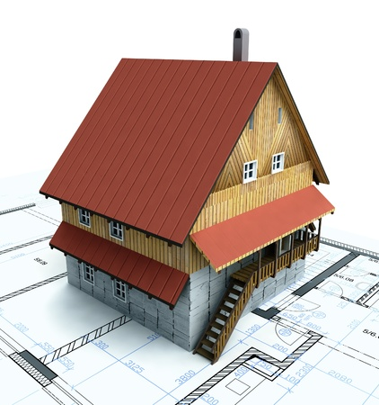 Mountain isolated building house with layout plan illustration illustration