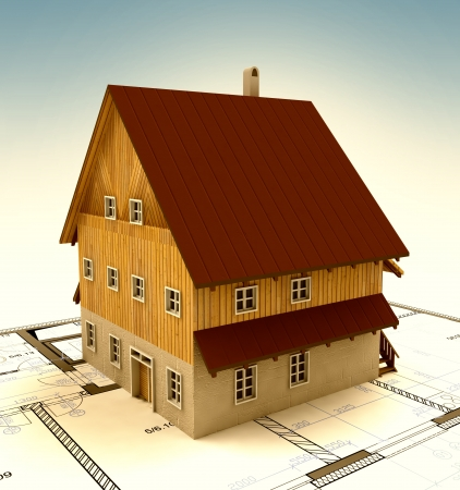 timbered: Real estate new building house with layout and sky illustration