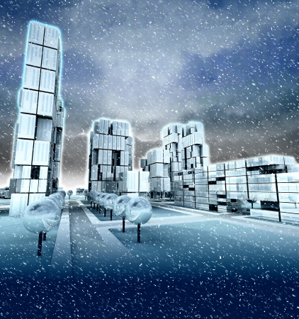 blizzard: Frosty skyscraper city at winter blizzard illustration Stock Photo