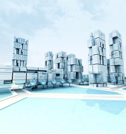 everyday scenes: Futuristic skyscraper city at winter daylight illustration