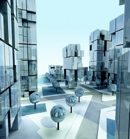 everyday scenes: Modern business city at morning daylight illustration
