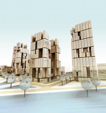 everyday scenes: Modern business city at daylight illustration