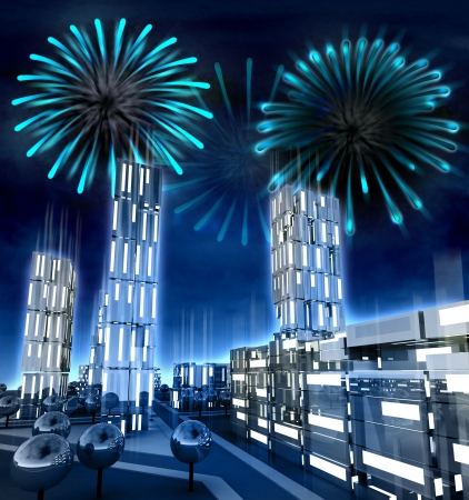 alighted: Modern city with alighted windows with amazing fire show illustration