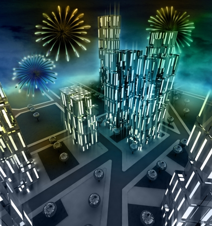 in midnight: Midnight fireworks scene over city from window illustration Stock Photo