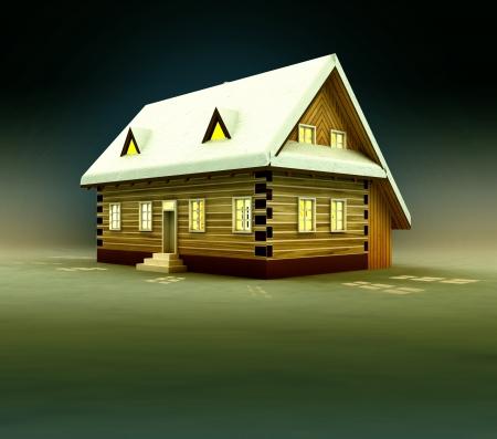 alighted: Seasonal house and window lighting at night illustration